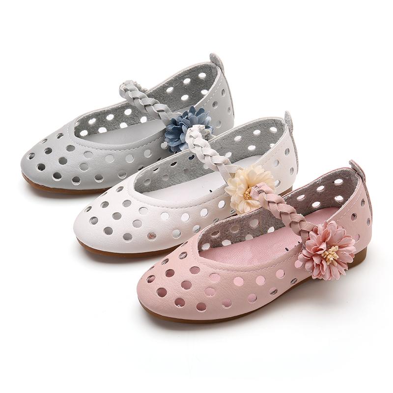 女童春鞋2018新款春款小孩公主镂空单鞋夏季韩版百搭儿童凉鞋童鞋