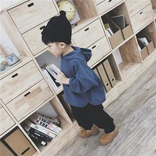 儿童秋装 韩版 连帽卫衣男女宝宝宽松套头衫 纯色蝙蝠袖 上衣外套 新款