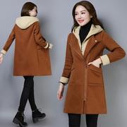 冬季外套女2018新款韩版毛毛里中长款宽松棉衣服连帽加绒加厚卫衣