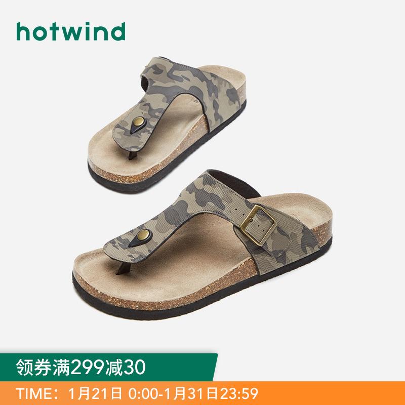 热风2019年新款潮流男士软木拖鞋透气迷彩沙滩拖H60M9612