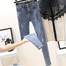 Spring 2019 Chic Korean version of hollow jeans female high-waist elastic tightweight students pencil pants