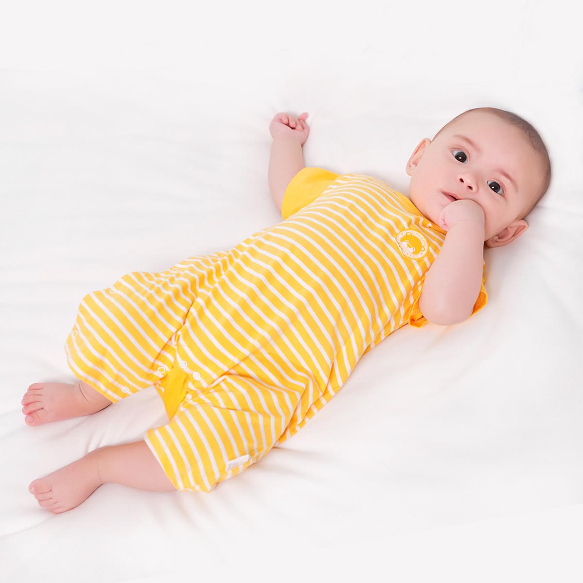 婴儿连体衣夏季纯棉短袖0-3-6-12个月新生儿衣服薄款宝宝