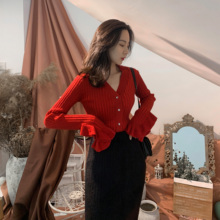 Middletone Christmas Red Gold Thread Lotus Edge Knitted cardigan blouse