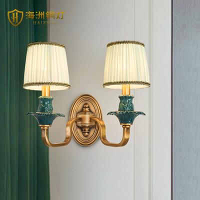 法式田园壁灯全铜客厅背景墙灯饰房间卧室温馨浪漫单头双头床头灯