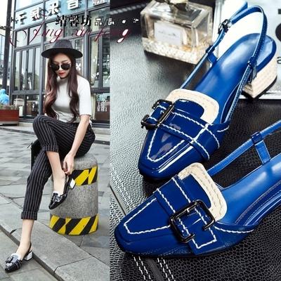 夏季新款女鞋子头层牛皮真皮方头皮带扣撞色粗跟中跟糖果漆皮凉鞋