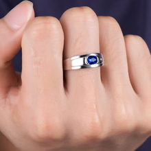 Men's Sapphire Ring Pure Silver Caibao Personality Wide Single New Jewelry Platinum Platinum Marriage Finger Domineering