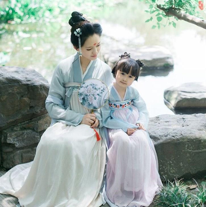 女童汉服襦裙亲子装秋款母女装儿童古装中国风改良日常仙女连衣裙
