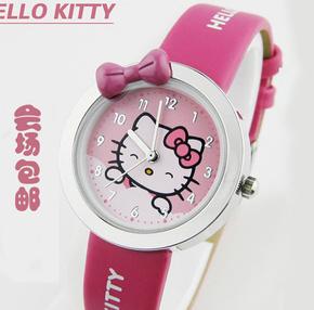 韩版可爱儿童手表女孩卡通KT猫电子防水表韩国小学生女童石英手表