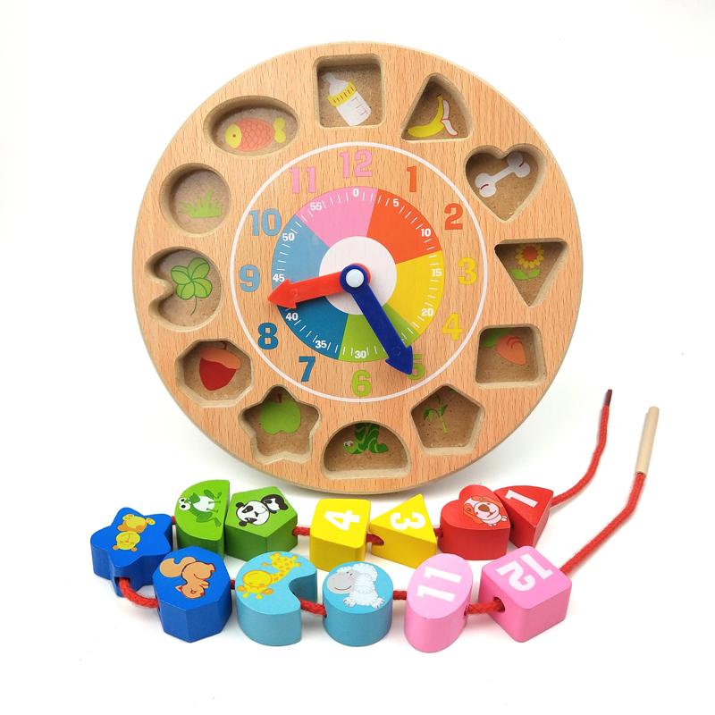 儿童创意时钟串珠穿线早教益智男孩女宝宝穿绳智力玩具1-2-3周岁