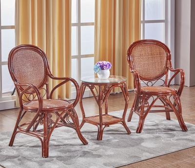 真藤椅三件套阳台藤编桌椅简约现代休闲茶楼家用单人靠背小腾椅