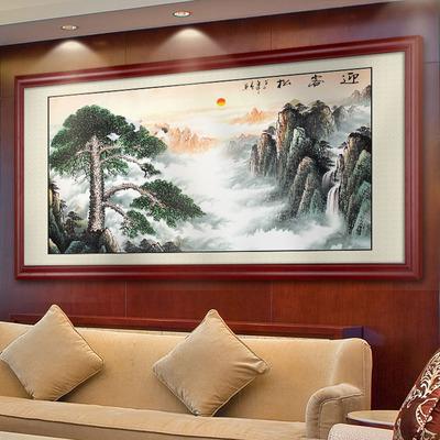 迎客松装饰画客厅办公室饭店挂画接待室宾馆背景墙画黄山松树壁画