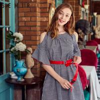 森马连衣裙女2018夏装新款纯棉宽松黑白格子裙荷叶边喇叭袖裙子潮