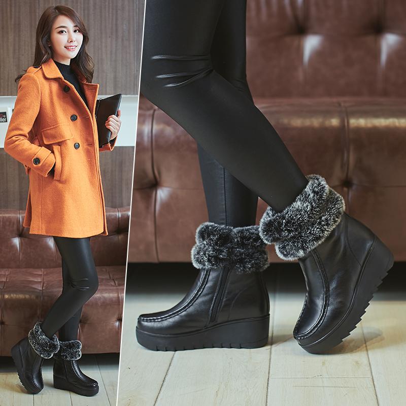 2018冬季牛皮兔毛短靴松糕底防滑女靴厚底坡跟中跟加绒保暖棉靴