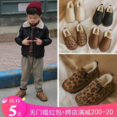 2018冬季新款豹纹蝴蝶结棉鞋加厚保暖冬季新款儿童中大童加绒童鞋