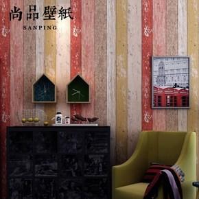 尚品壁纸 复古做旧彩色木纹木板墙纸客厅卧室书房餐厅咖啡厅壁纸