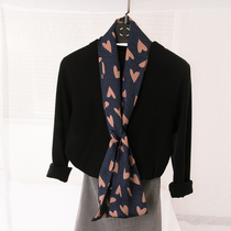春上新长条窄款斜纹仿真丝小领巾多功能装饰丝巾绑包包腰带围巾女