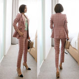 Spring and Autumn New Korea Fashion Small Suit Women's Jacket Pink Plaid Slim Thin Professional Suit Pants Two-piece