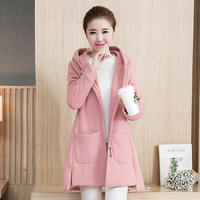 Maternity wear autumn and winter thickening plus velvet warm hooded jacket spring and autumn casual sweater cotton clothes jacket cardigan