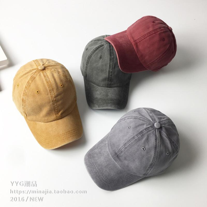 帽子女春夏韩版做旧复古弯檐鸭舌帽子光板纯色棒球帽情侣水洗帽男
