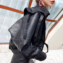 Black Leather Jacket Women Short style spring and autumn 2019 new fashion social loose handsome Street locomotive leather coat women