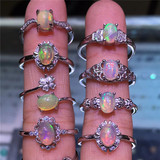 Natural Opal Ring Refers to ring live mouth semi-silver plated silver process random delivery special package