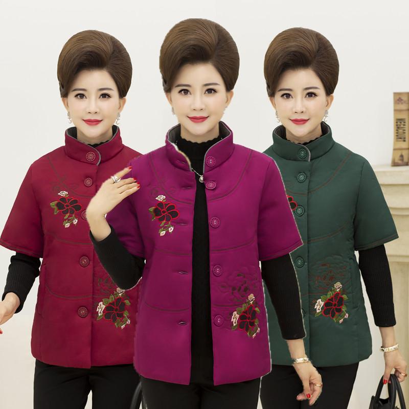 中老年女棉服绣花棉服