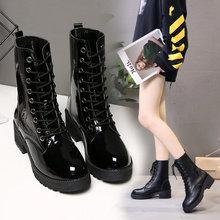 新款 女鞋 马丁靴中筒皮靴时尚 韩版 系带瘦瘦靴2018秋冬季短靴子厚底
