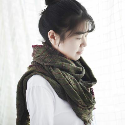 羚羊早安 秋冬不规则200*65cm菱形散穗围巾文艺围巾披肩