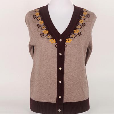 中老年女装秋装新款妈妈毛衣针织开衫V领羊毛衫打底衫老人衣服女