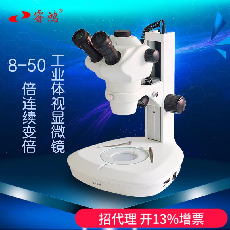 睿鸿体视显微镜8-50倍连续变倍镜头 大连变 带上下LED光源28mm 宽视野100倍鉴定放大镜放大镜芯片