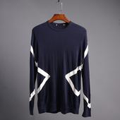 18新品 潮流百搭藏青色几何印花线条圆领套头毛衣 海依柜剪标男装