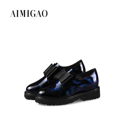 AIMIGAO爱米高秋冬热卖 蝴蝶结拼色中跟单鞋女欧美粗跟休闲女鞋