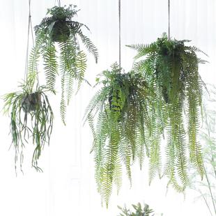 饰绿植家居商铺橱窗餐厅 西西里仿真垂吊植物草球绿野仙踪吊挂盆装