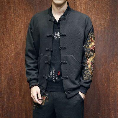 唐装男装外套装青年修身中山装中国风道袍佛系古装居士服汉服禅服