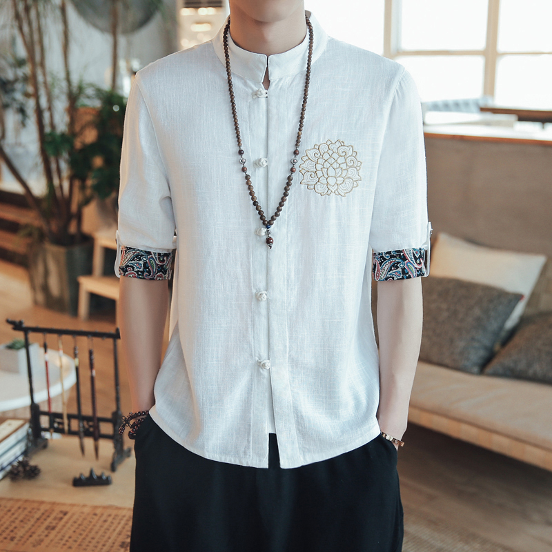 中国风男士短袖衬衫