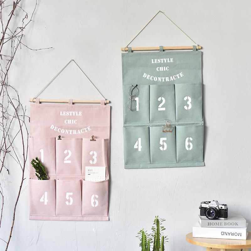 新品北欧简约挂袋6兜数字挂袋 棉麻布艺墙挂式收纳袋挂袋储物整理