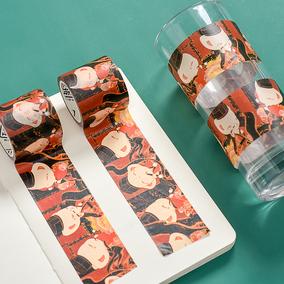 三年二班X西子猫猫大红袍卷轴和纸胶带Z少女手账diy素材贴纸Q