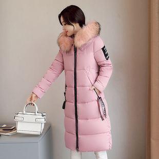 2017冬季新款修身棉衣女中长款保暖大毛领羽绒棉外套