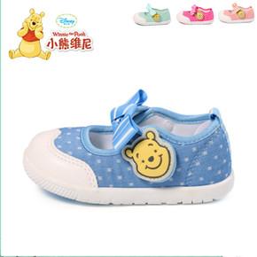 迪士尼童鞋女宝宝公主鞋小熊维尼学步鞋方口鞋软底鞋透气防滑布鞋