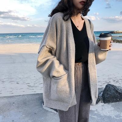 早秋薄款慵懒宽松百搭针织开衫外套外搭学生纯色灰色长袖毛衣女