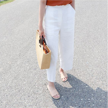 Nine-point flax high waist slacks, wide legs, women Xia Baitao show the trend of thin, tight waist, thin cotton and linen casual trousers
