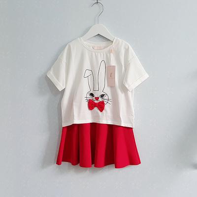 拉夏贝尔童装S2016夏装新款 提花短袖短裙儿童套装童装女10200764