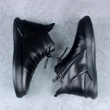 British thick-soled cowhide men's boots, mid-upper men's boots, Martin's boots, men's leather boots, boost the Korean version of high-top leather shoes