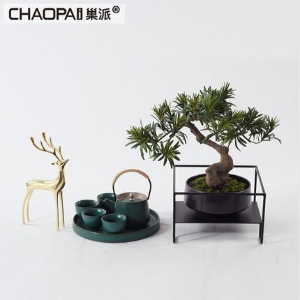 新中式茶几茶台组合摆件样板房客厅茶馆茶室条几禅意玄关软装饰品