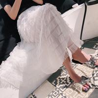 TKSTYLE定制 2018s/s夏季新款仙女气质沙滩度假网纱长款半身裙