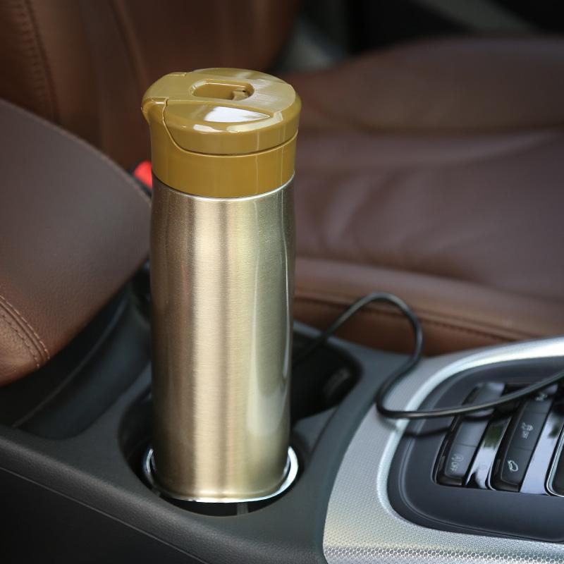 澳特赛车载烧水杯 车用电热加热杯100度不锈钢热水壶12V汽车用