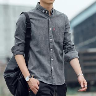 春季条纹寸衫 磨毛长袖 商务休闲纯棉衬衣青年大码 修身 衬衫 韩版 男士