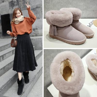 ZHR2018秋季新款流苏雪地靴女平底短靴加绒棉鞋女真皮学生女靴子