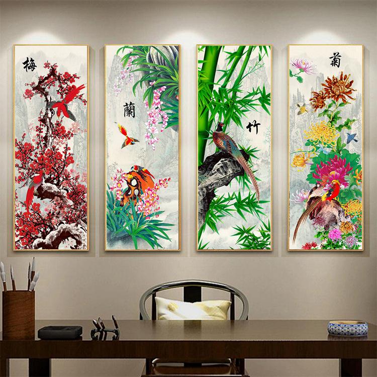梅蘭竹菊十字繡客廳
