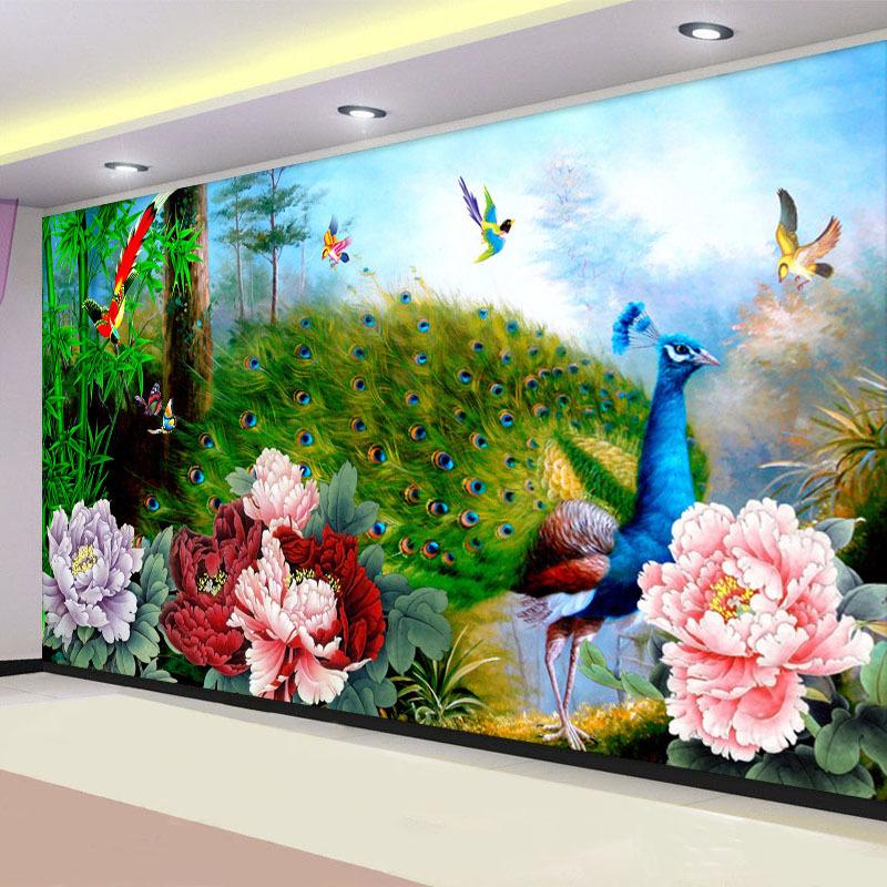 牡丹客廳十字繡孔雀